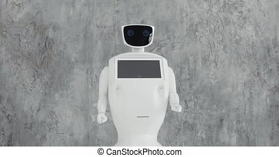 Modern Robotic Technologies. The robot looks at the camera...