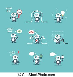 Modern Robots Icons Set Chat Bot Artificial Intelligence Technology Concept