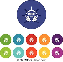 Modern rock music icons set vector color