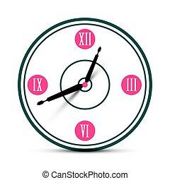 Modern Roman Numeral Analog Clock Symbol. Vector Time Icon.