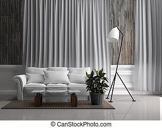 Modern room interior design. 3D rendering