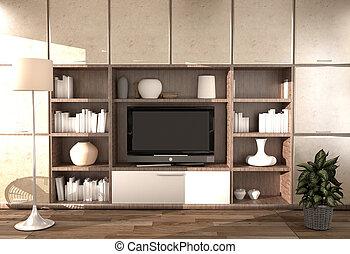 Modern room interior - Empty room. 3d rendering