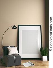 Modern Room Scandinavian Style. 3D Rendering