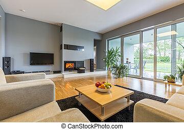 Modern room with balcony