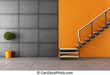 Modern room with staircase and iron black panel without...
