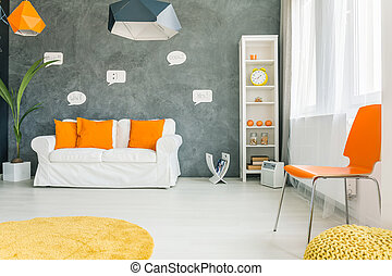 Modern room with yellow clock