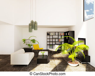 room - modern room with yellow furniture and white wall
