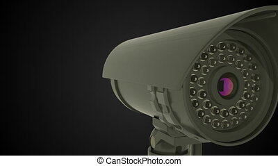 Modern rotating CCTV security camera, 3D rendering...