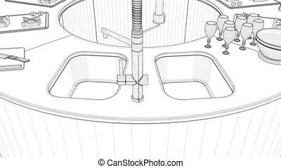 Modern Round Kitchen Interior Animation