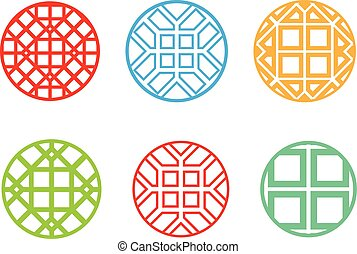 Modern round Korean pattern window frame, vector
