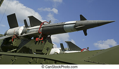 Modern Russian anti-aircraft missiles 5V27DE against the sky...