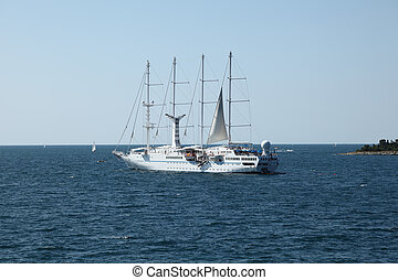 Modern sailing ship in the Adriatic Sea, Croatia