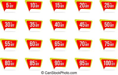 Modern Sale and Discount Price Tag Set Vector Promotion Badges Label Designs Template