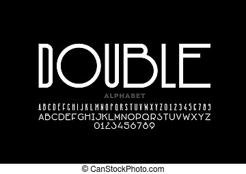 Modern sans serif font, condensed and wide style mixed together, alphabet letters and numbers vector illustration