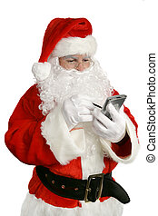 An updated Santa Claus checking his list on PDA. Isolated on white.