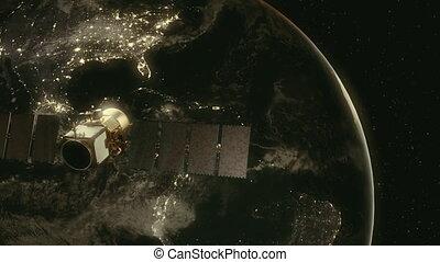 Modern satellite in orbit around Earth.