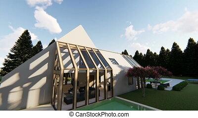 Modern Scandinavian house exterior, motion graphic
