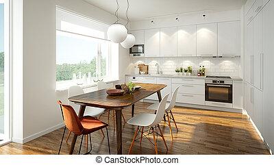 Modern Scandinavian kitchen - 3D rendering of a modern light...