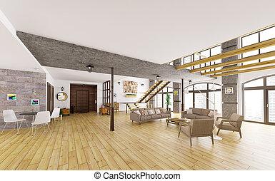 Blaues render furniture. loft. modern interior. minimalismus