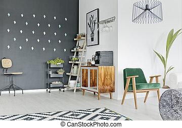 Mezzanine, modern, dachgeschoss, idee. Lebensunterhalt, wohnung ...