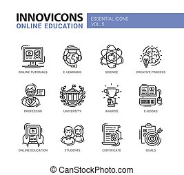 Modern school and education thin line design icons,...