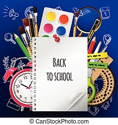 Modern school background welcome back to school with place for your text and with supplies