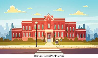 Modern School Building Exterior With Crosswalk Welcome Back...
