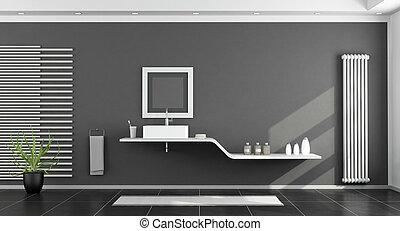 Modern, Schwarz Weiß, Badezimmer