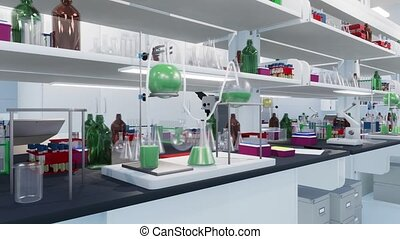 Empty interior of scientific research lab with glass beakers, flasks and other laboratory equipment in close-up. Modern medical and science technology concept 3D animation rendered in 4K