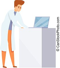 Modern scientist icon, cartoon style