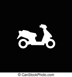 Modern scooter icon isolated on black. Vector illustration