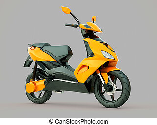 Modern scooter - Modern powerful sports scooter on a grey...