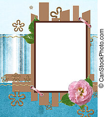 modern scrapbook layout in blue and brown colors with photo frame and flowers