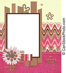 modern scrapbook layout with photo frame and flowers