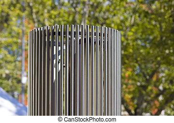 modern sculpture in steel cylindrical