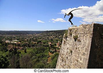Modern sculpture, Saint-Paul-de-Vence, Provence, France.