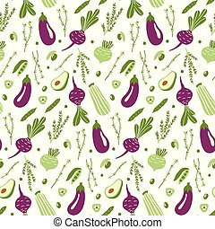 Modern seamless pattern with hand drawn green and violet doodle vegetables.