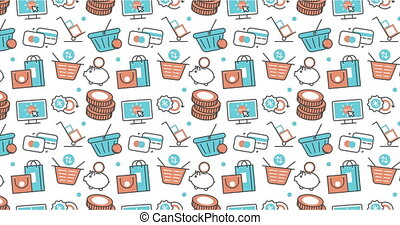 modern seamless texture background of flat e-commerce, shopping icons.