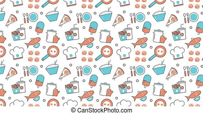 modern seamless texture background of flat food, restaurant menu icons.