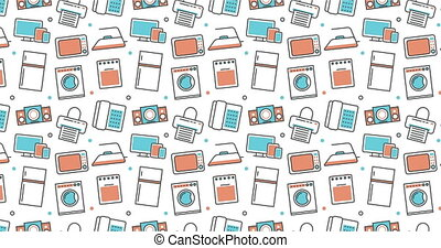 modern seamless texture background of flat home appliances icons.
