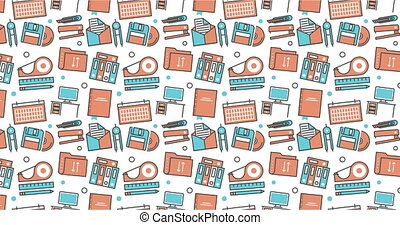 modern seamless texture background of flat office, work tools icons.