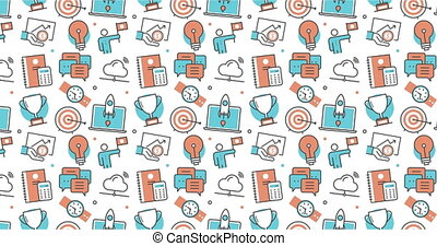modern seamless texture background of flat business development, achievement in a career icons.