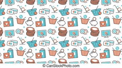 modern seamless texture background of flat e-commerce,...