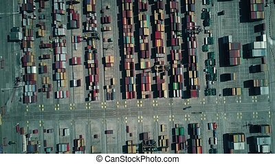 Modern seaport container terminal, aerial top down view -...