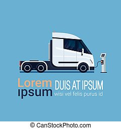 Modern Semi Truck Trailer Charging At Electic Charger Station Banner With Place For Text