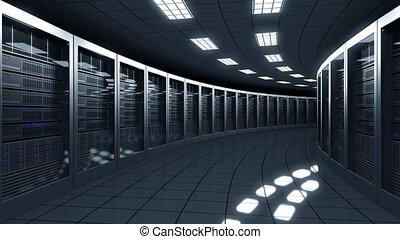 Modern server room. Information technologies, ISP, cloud services, data center or big online business concepts. Seamless loop, 4K clip