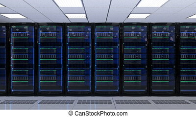 Modern server room interior. 3D rendering animation.