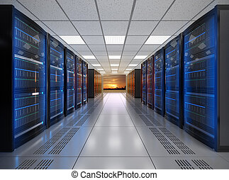 Modern server room interior