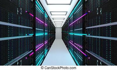 Modern server room interior in datacenter, web network and internet telecommunication technology, big data storage and cloud service concept, 3d render