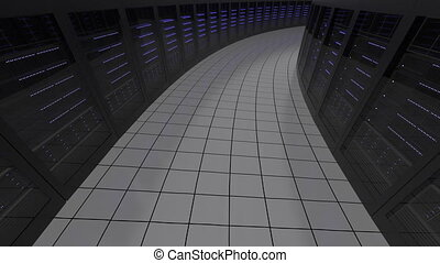 Modern server room, seamless loop animation. Information technologies or data center concepts